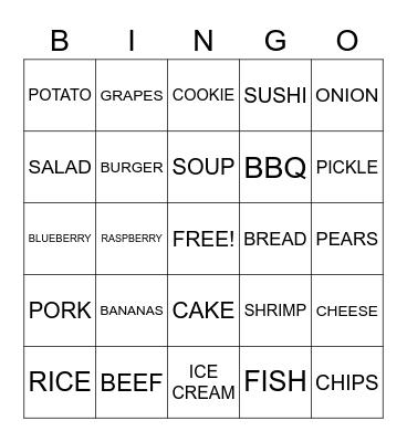 FOOD Bingo Card