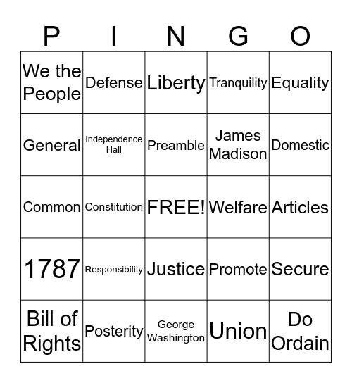 Preamble Bingo - Card E Bingo Card
