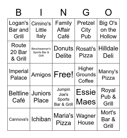 Freeport Restaurant Bingo Card
