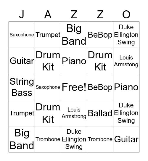 Jazz Instrument Bingo Card