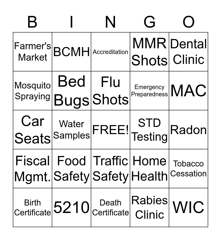 Public Health Bingo Card