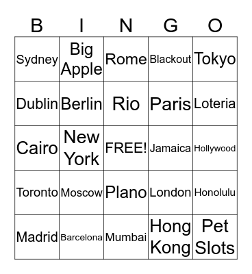 Bingo Blitz Bingo Card