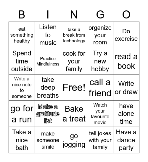 Self- care Bingo Card
