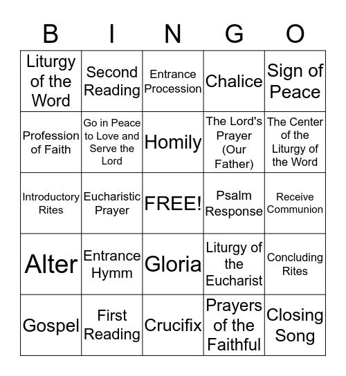 Celebrate Mass Bingo Card