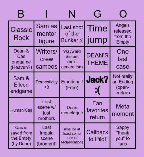 SUPERNATURAL FINALE Bingo Card