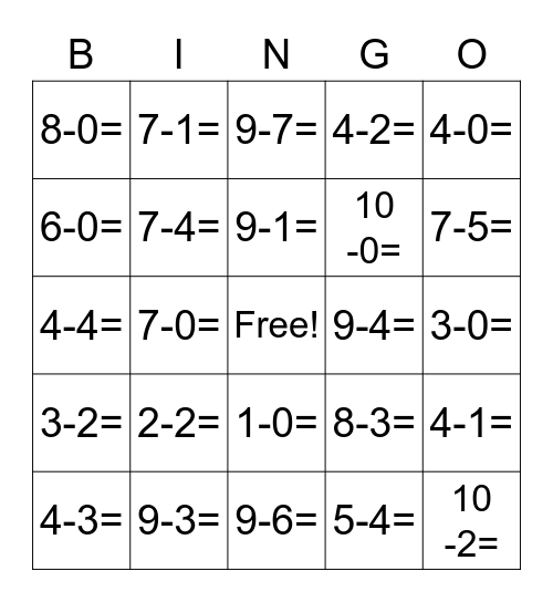 Subtraction Within 10 BINGO Card