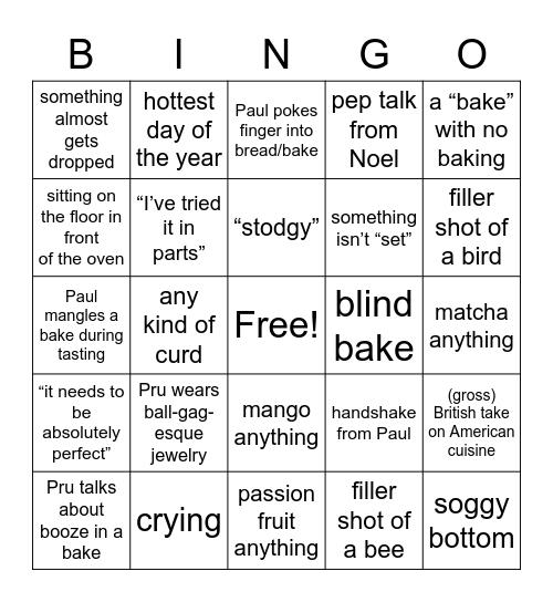 GBBO! Bingo Card