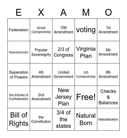 Constitution Review EXAMO Bingo Card