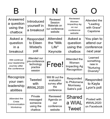 2020 Women in Ag Virtual Leadership Conference Bingo Card
