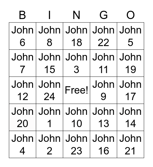 Book of John Bingo Card