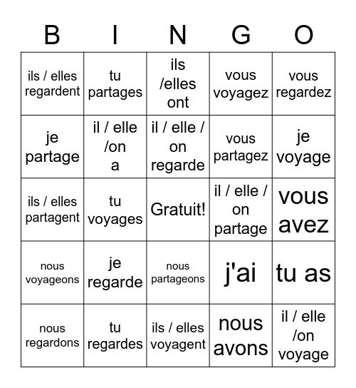 -ER verbs review Bingo Card