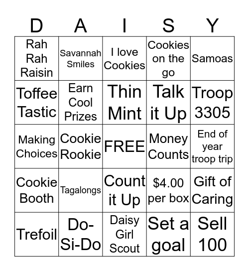 DAISY Girl Scout Cookie Bingo Card