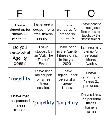 Ageility Bingo Card
