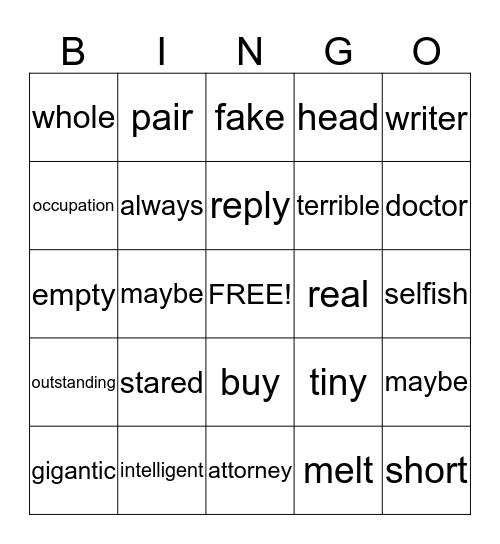 Synonyms Bingo Card