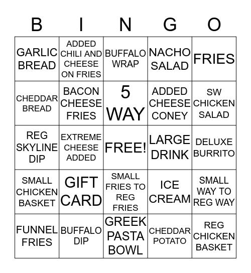 SKYLINE CHILI Bingo Card