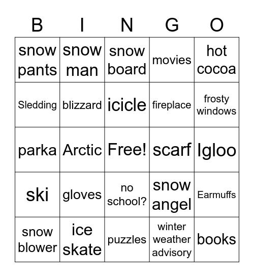 Snow Day! Bingo Card