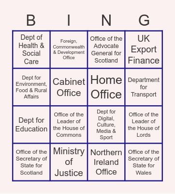 Government Departments! Bingo Card