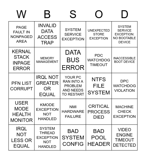 Bluescreen Bingo Card
