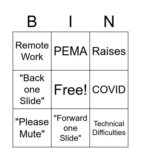 All Hands Bingo Card