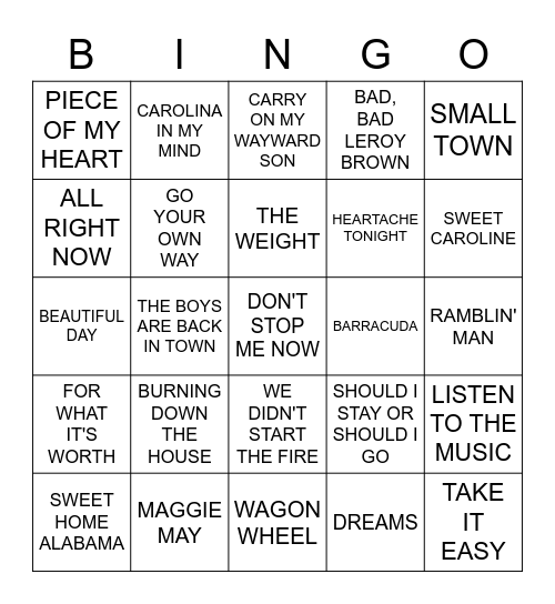 BACK YARD BBQ Bingo Card