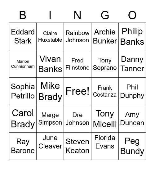 TV Moms & Dads Bingo Card