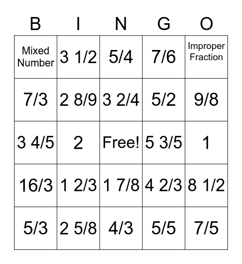 Mixed Fractions & Improper Fractions Bingo Card