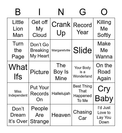 Music Bingo 36 Bingo Card