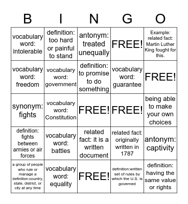 Protecting Freedom Bingo Card