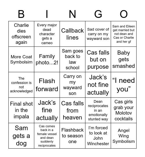 Spn Finale Bingo Card