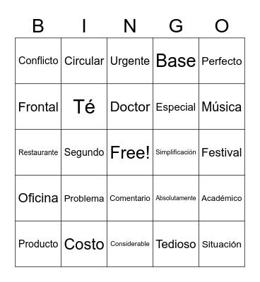 Spanish Cognates Bingo Card