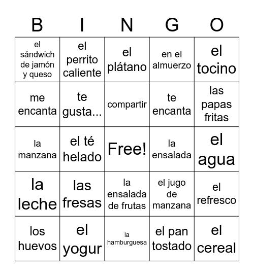 LOTERÍA - LA COMIDA Bingo Card