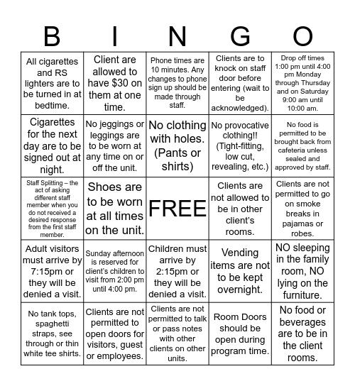 Unit Guidelines Bingo Card