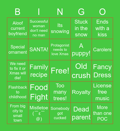 Hallmark Movie Bingo Card