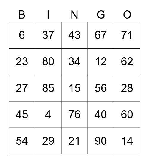 You Yeah You Bingo Card