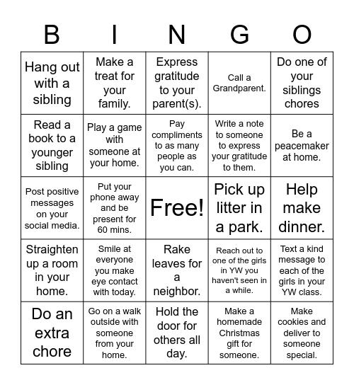 Service Bingo Card