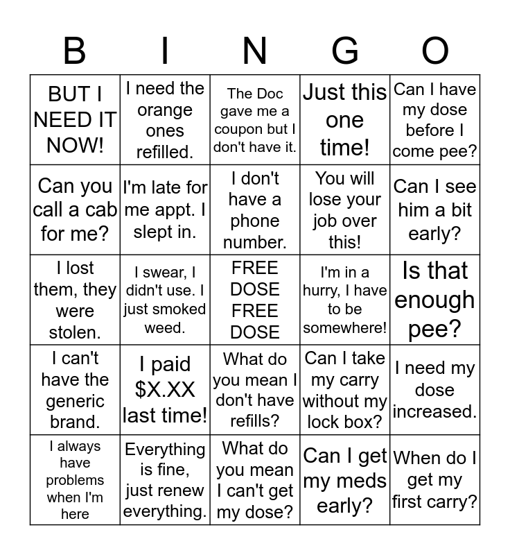 Shit They Say BINGO Card