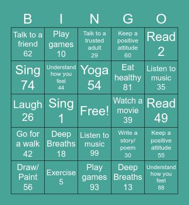 Stress Coping Skills Bingo Card