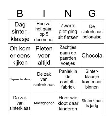 Sinterklaasliedjes Bingo Card