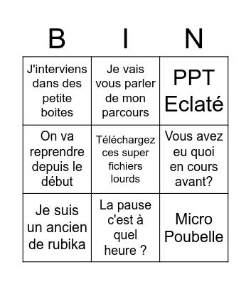 Bingo Cours Rubika Bingo Card