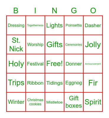Bluestone Christmas Bingo Card