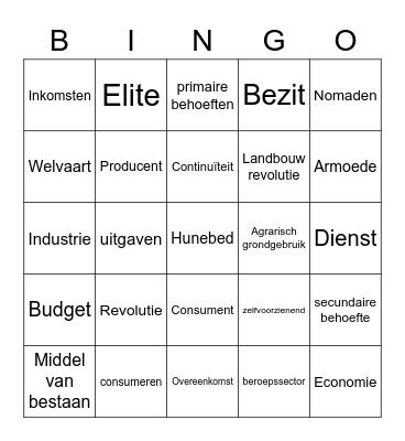 H2 Begrippen Bingo Card