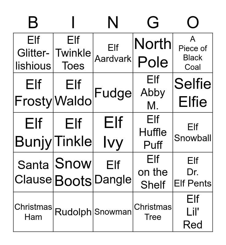 ELF FAMILY BINGO 2014 Bingo Card