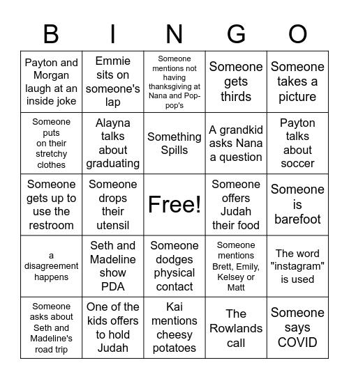 A COVID Thanksgiving Bingo: 2020 edition Bingo Card