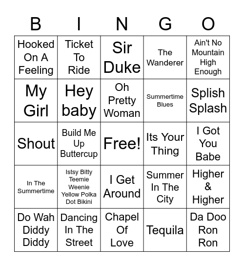 Feel Good Classics Bingo Card