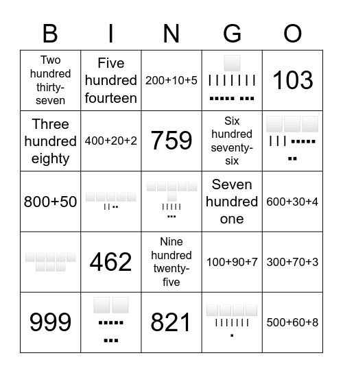 Number Forms BINGO Card