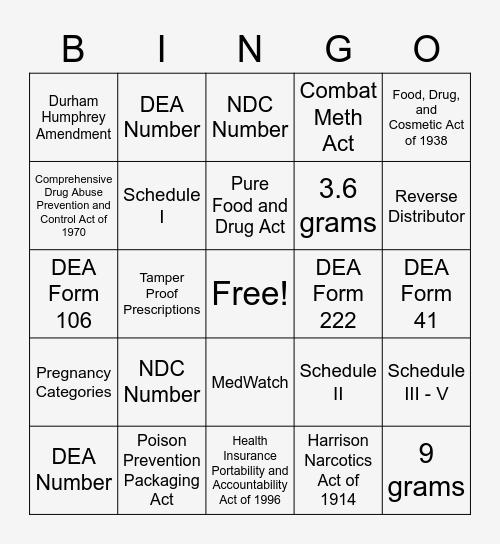 Pharmacy Laws, Ethics, and Regulatory Agencies Bingo Card