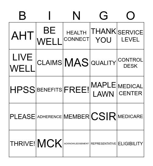 Kaiser Permanente Bingo Card