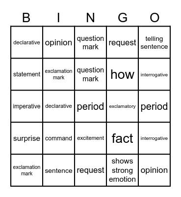 Types of Sentences Bingo Card