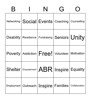 United Way 2020 Bingo Card