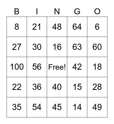 Multiples Bingo Card